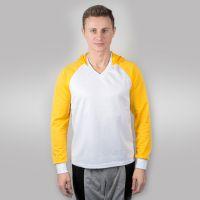 Футболка мужская с желтыми дл рукавами и капюшоном — 54 (XXXL)