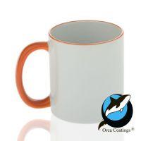 Кружка керамика белая, ободок и ручка оранжевая повышенное качество 330мл