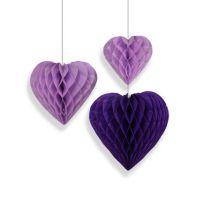 Набор помпонов в виде сердца сиреневый 3 штуки (h25, h20, h15см)