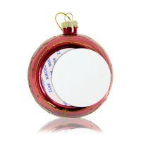 Шар елочный стекло красный с золотым орнаментом (со вставкой для сублимации D51мм) D80мм