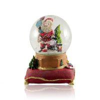 Шар водяной Дед Мороз с подарками с хлопьями снежинки музыкальный 124x124x150мм D100